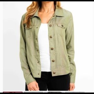 Tahari denim jacket light weight green large